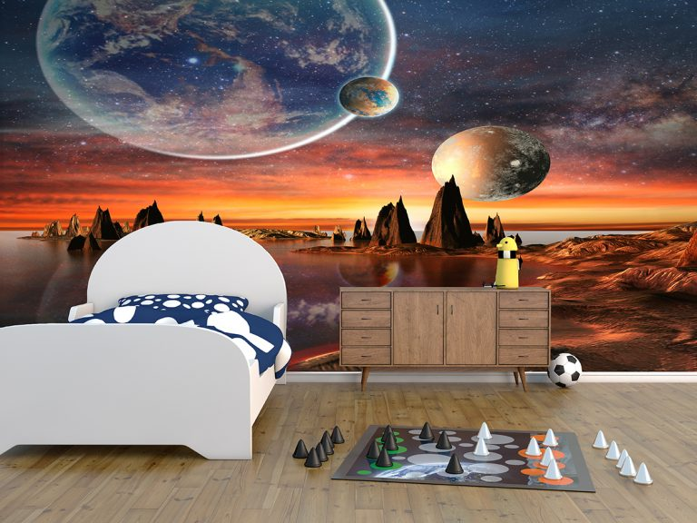 bespoke wallpaper mural showing boys room with spaced and planet themed walls