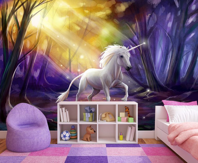 bespoke wall mural of Unicorn in purple inspired forest with shafts of golden sunlight on playroom wall