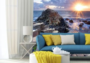 bespoke wallcovering showing a giants causeway wall mural in living room