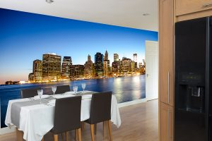 bespoke wallcovering of a city scape wall mural in dining room