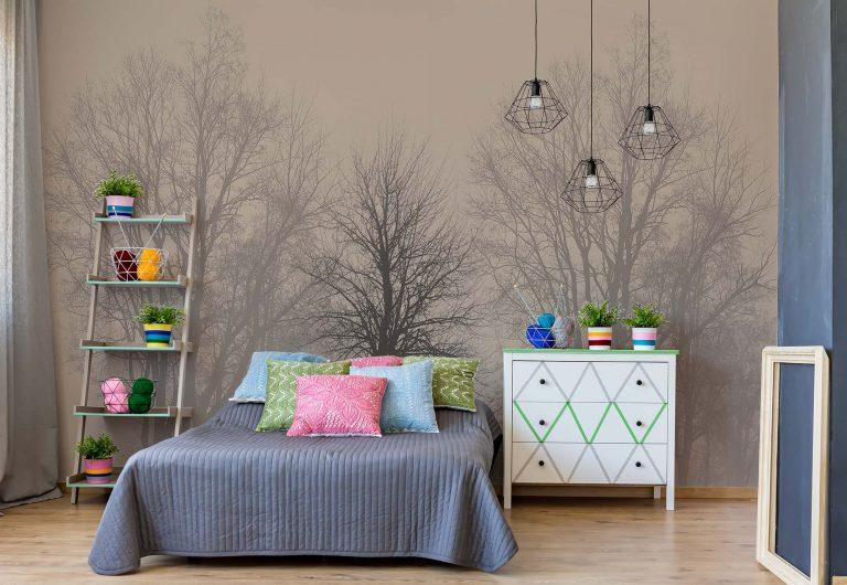 bespoke bedroom wall mural of winter treas in soft greys