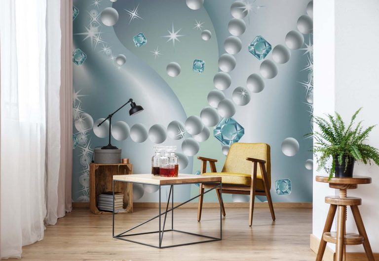 bespoke dining room wall mural of diamonds and pearls