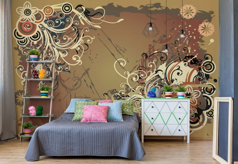Bespoke Wall covering in bedroom designed in creams and brown swirls