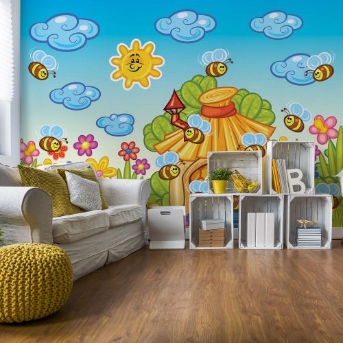 Cartoon Bees And Sunshine Photo Wallpaper Mural