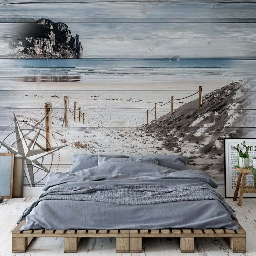 Rustic Path To The Beach Wood Planks Photo Wallpaper Mural